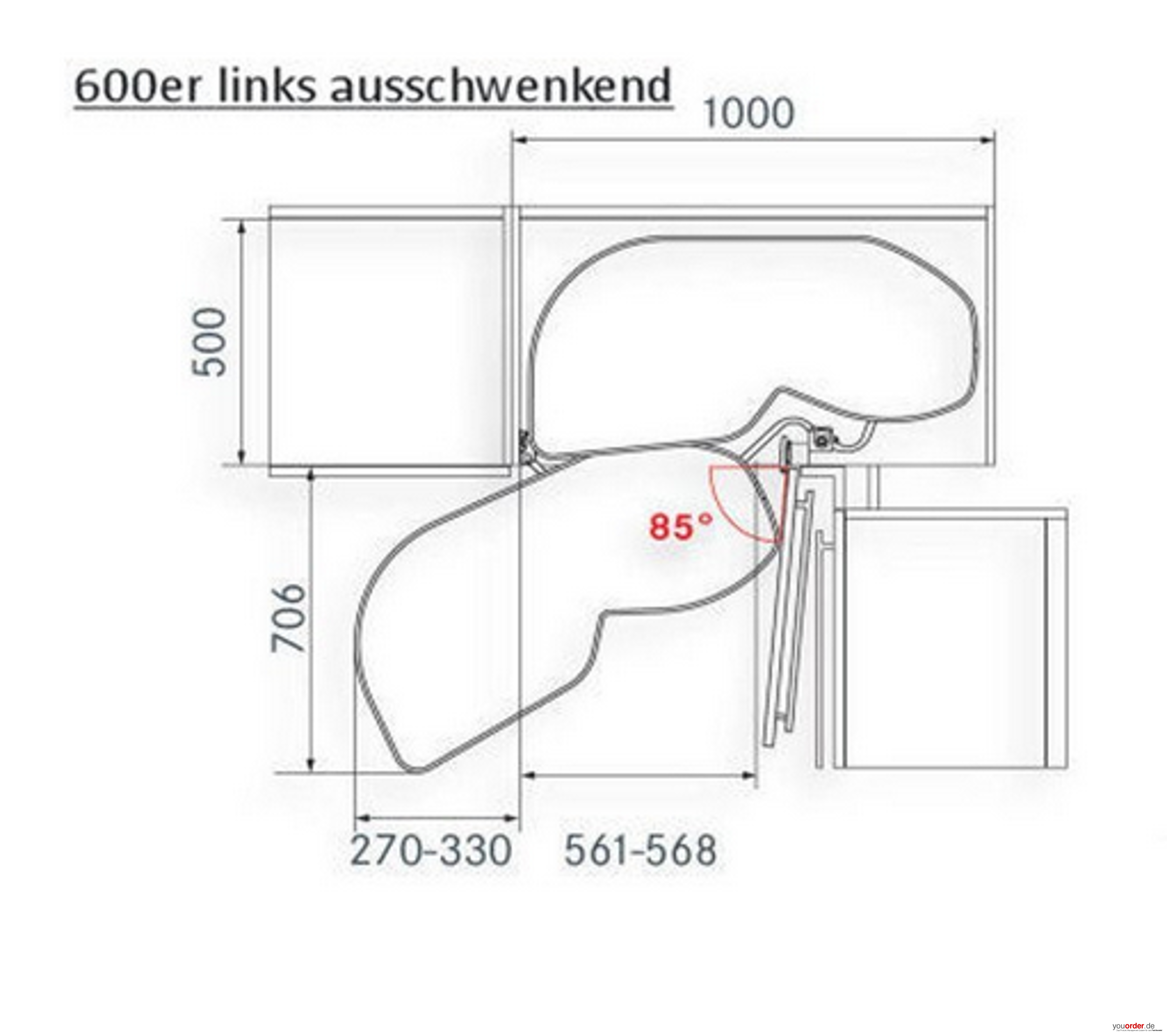 Le Mans Eckschrank kesseböhmer lemans eckschrank schwenkauszug 60er türbreite