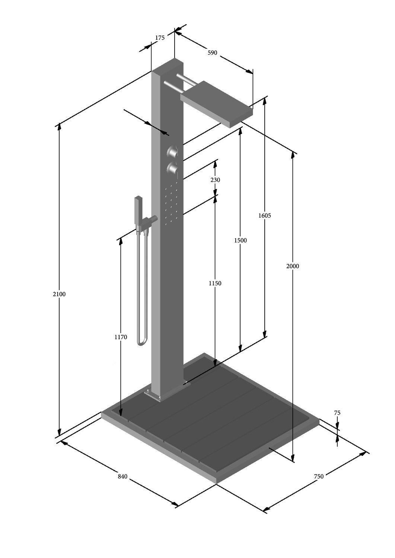 Duscharmatur Test : Kalt- & Warmwasserdusche Elba WPC – K?chenstudio Mustermann